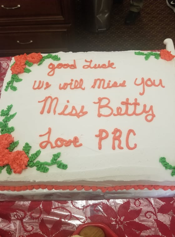 A cake for Miss Betty's Retirement